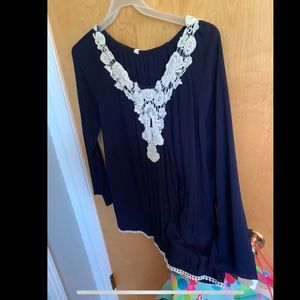 Navy Maternity top with crochet detail